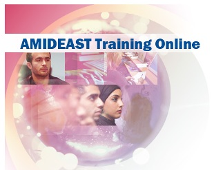 A globe-like image with two men and a woman who represent students studying in an Amideast Online course